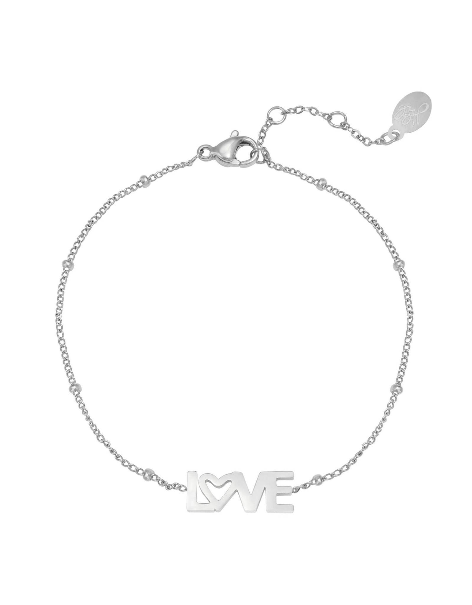 Yehwang Yehwang armbandje dotted LOVE silver