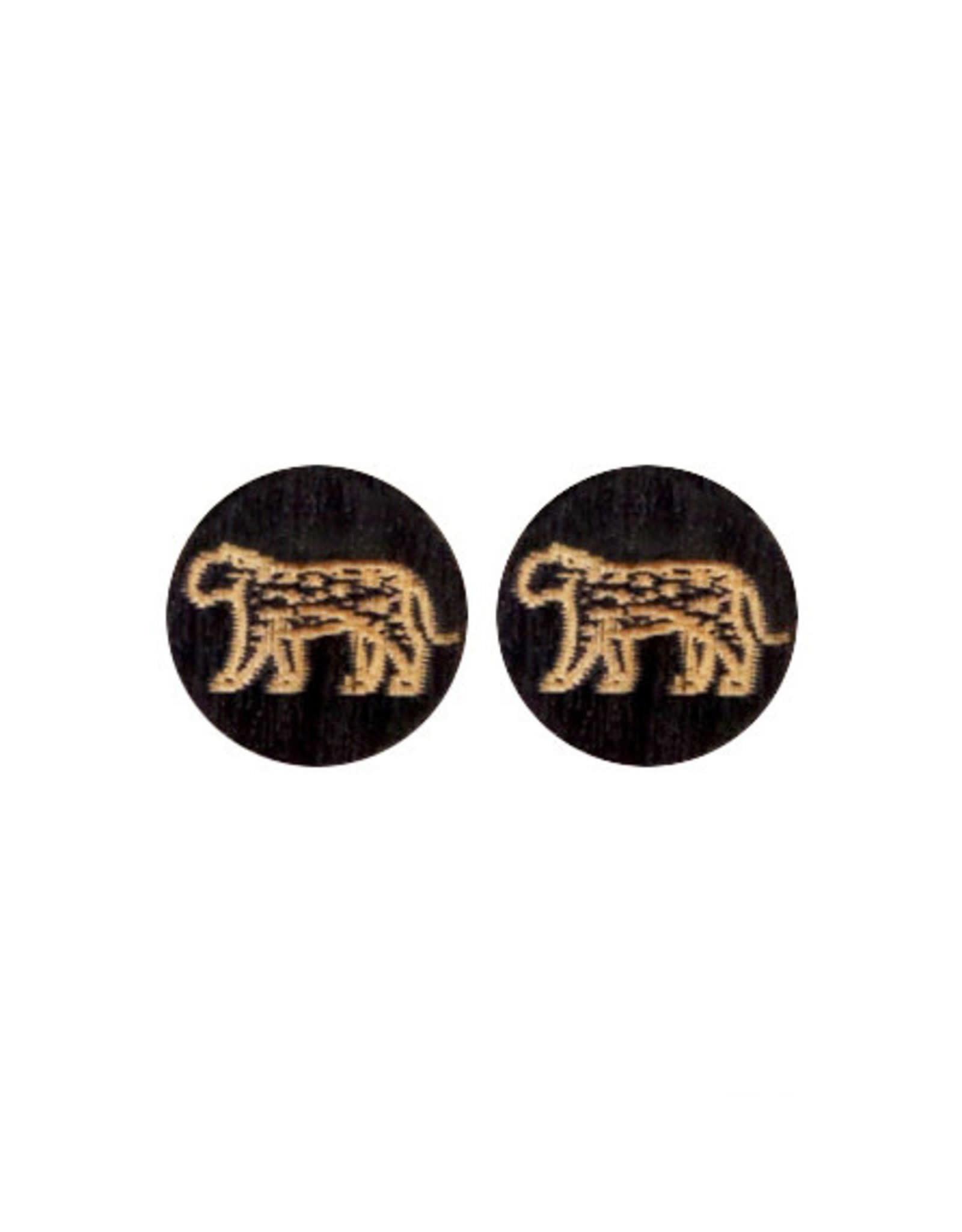 made by ellen Made by ellen 010 stekers stekers hout luipaard zwart