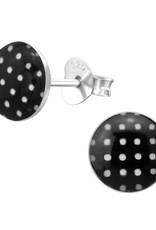 Precious jewels precious jewels oorstekers zwart met witte stipjes