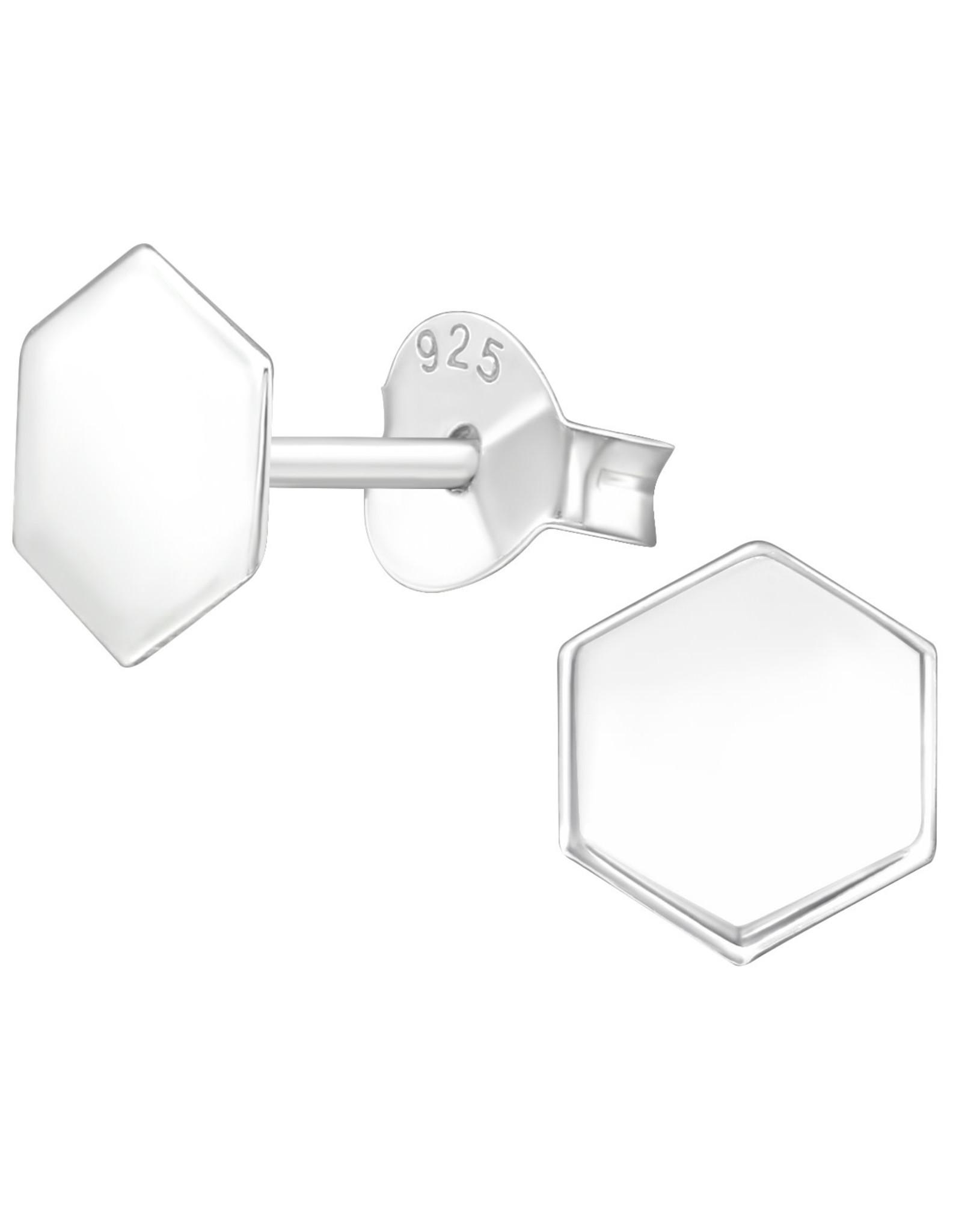 Precious jewels precious jewels oorstekers zeshoek zilverkleurig 001