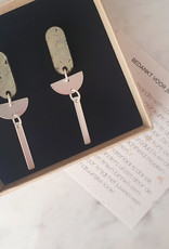"""Cotton candy cotton candy """"HWC"""": grote oorhangers soft green silver"""