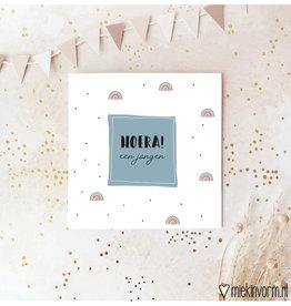 Miek in vorm Miek in vorm: dubbele kaart met envelop  Hoera! een jongen