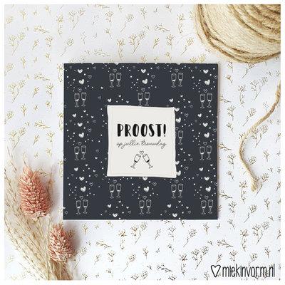 Miek in vorm Miek in vorm: dubbele kaart met envelop  Proost op jullie trouwdag