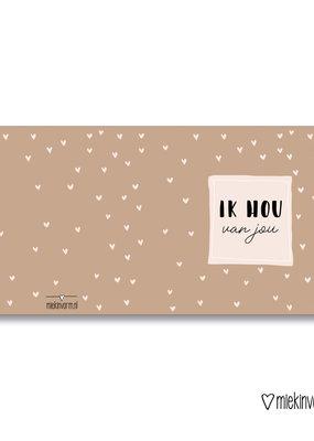 Miek in vorm Miek in vorm: dubbele kaart met envelop Ik hou van jou