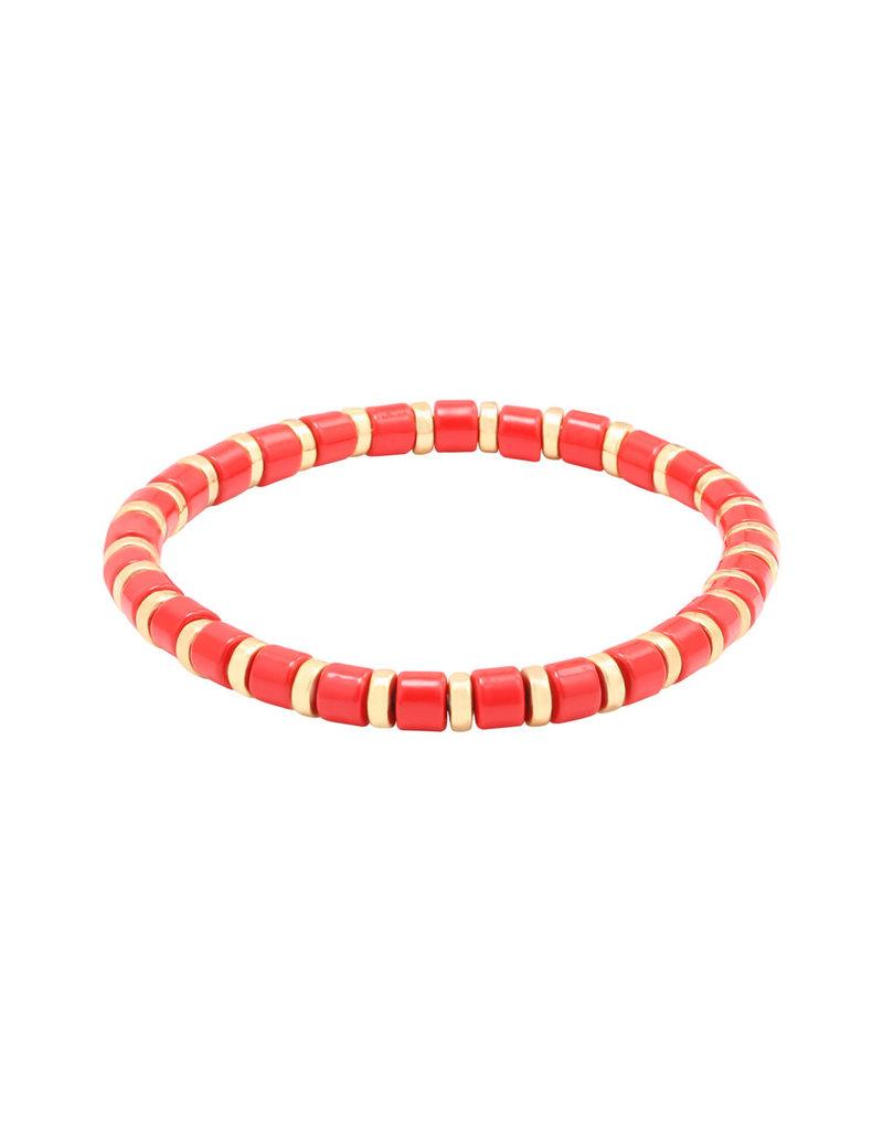 Yehwang Yehwang armbandje Sugar Beads rood