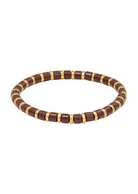 Yehwang Yehwang armbandje Sugar Beads bruin