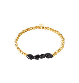 Yehwang Yehwang armbandje Black Rocks gold