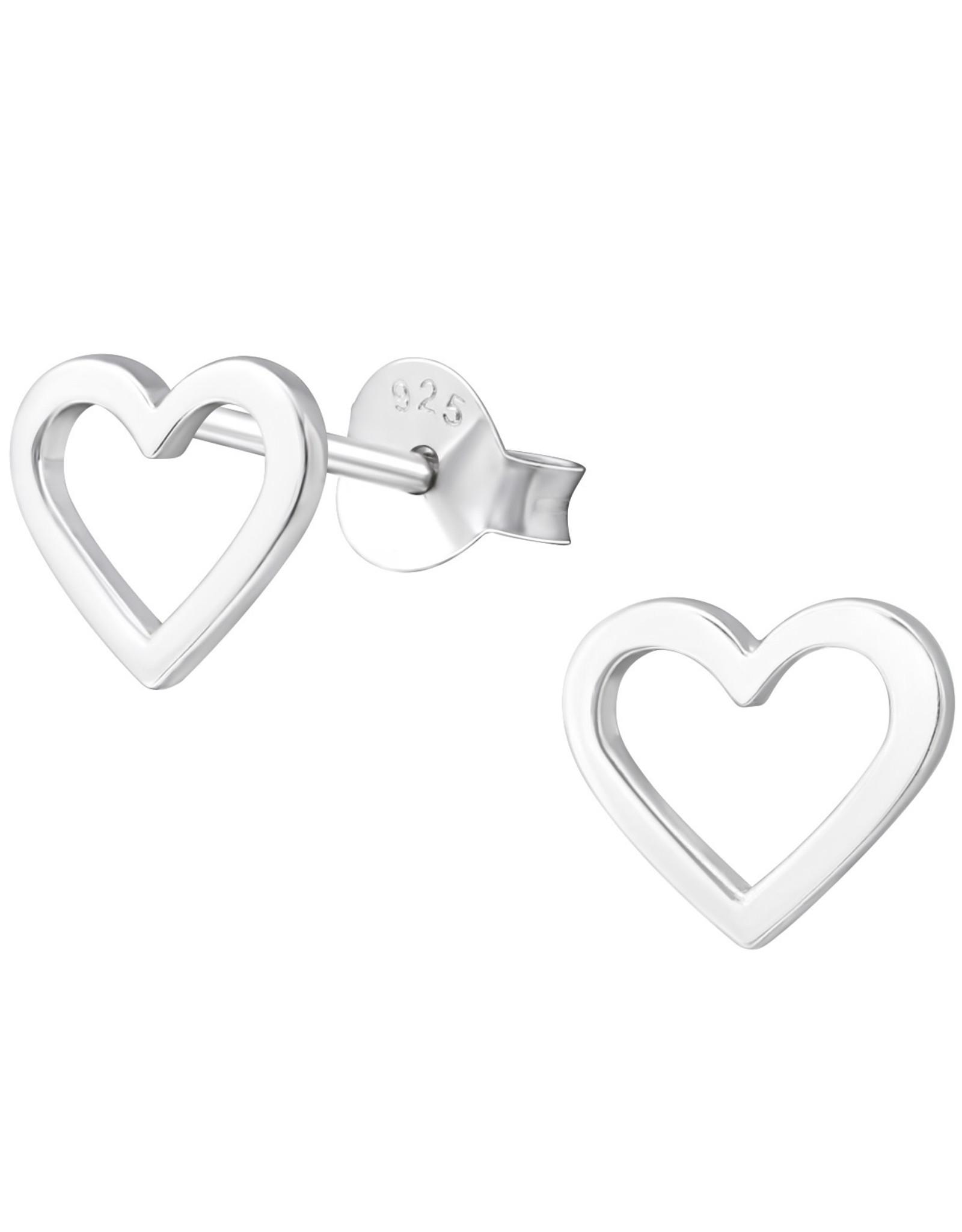 precious jewels: oorstekers hartjes open zilverkleurig