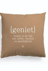 """By romi by romi: kussen """"Geniet"""""""