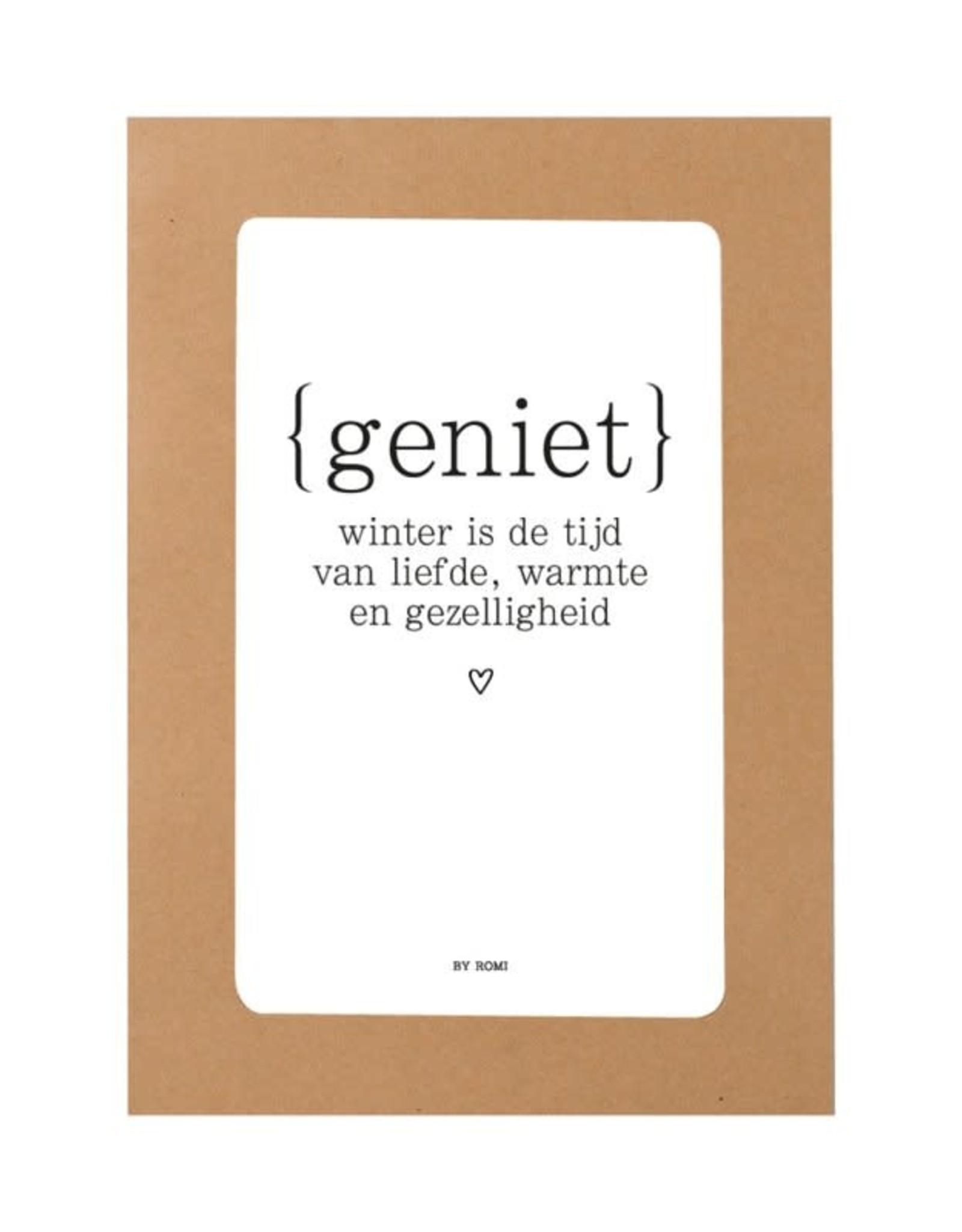 By romi by romi: Kraft vensterenvelop + kaart / Geniet