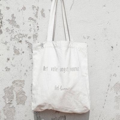 Lief leven lief leven: Canvas Tas • Met volle angst vooruit