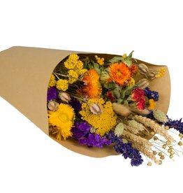 Wild Flowers by Floriëtte: droogbloemen field bouquet L orange