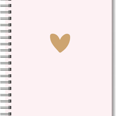 Stationery & gift Notebook A5 softcover pink & brown heart