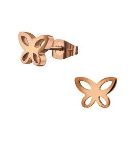 precious jewels: oorstekers rosé vlinder