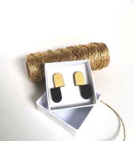 mona lisa juwelen Mona Lisa Juwelen Hout - oorbellen » Black & Gold - double oval