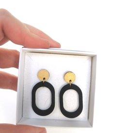 mona lisa juwelen Mona Lisa Juwelen Hout - oorbellen » Hoops - black/gold