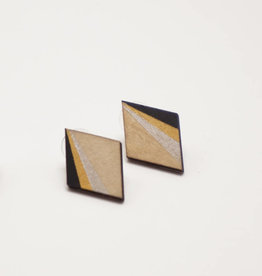mona lisa juwelen Mona Lisa Juwelen Hout Hout - oorbellen » Black & Gold - Diamond maxi (20 mm)