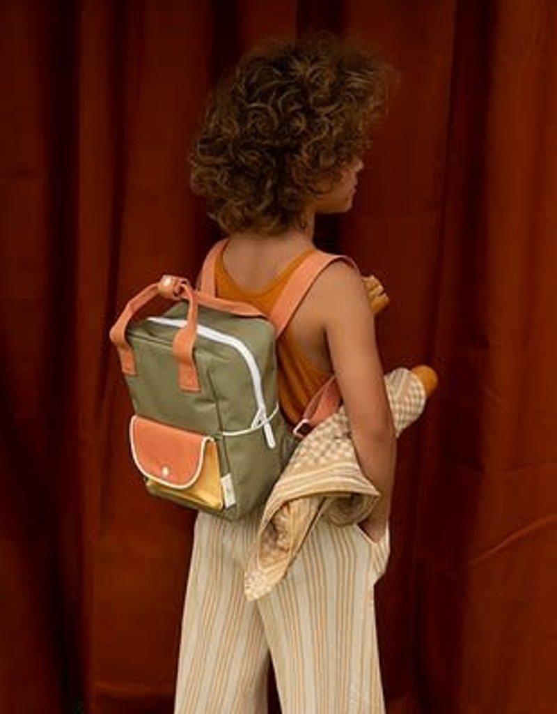 Sticky Lemon Sticky lemon: Small backpack wanderer  seventies green + faded orange + retro yellow
