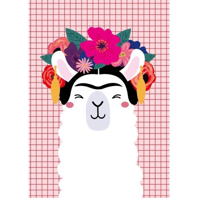 Studio inktvis kaart a6 studio inktvis: Frida Kahlo llama