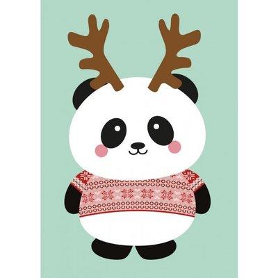 Studio inktvis kaart a6 studio inktvis:  panda kersttrui