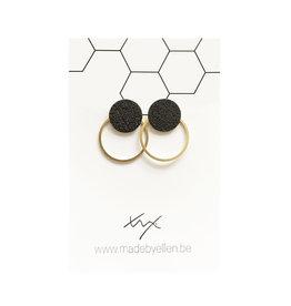 made by ellen Made by Ellen oorbellen  steker mat zwart met ring goud