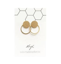 made by ellen Made by Ellen oorbellen  steker mat goud met ring goud