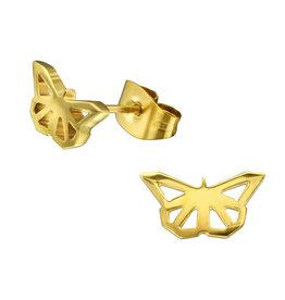 Precious jewels oorstekers vlinder goud open