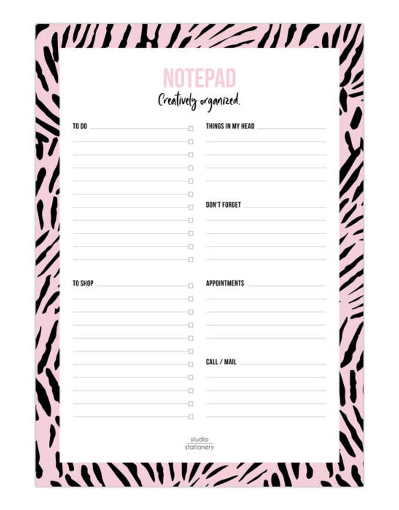 studio stationery Studio stationery A5 Notepad Creatively Organized Pink leaves