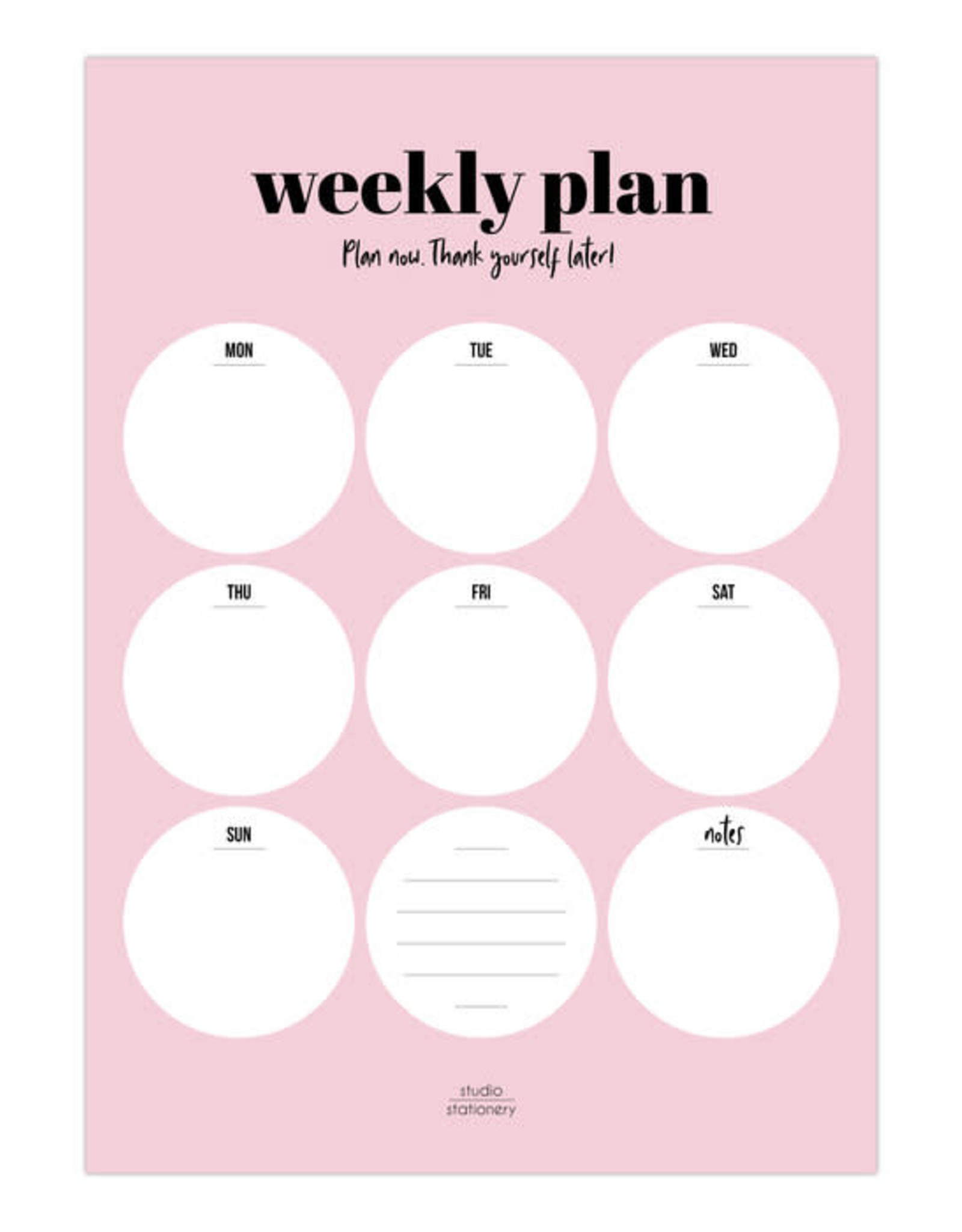 studio stationery Studio stationery A4 Noteblock Weekly plan Pink,