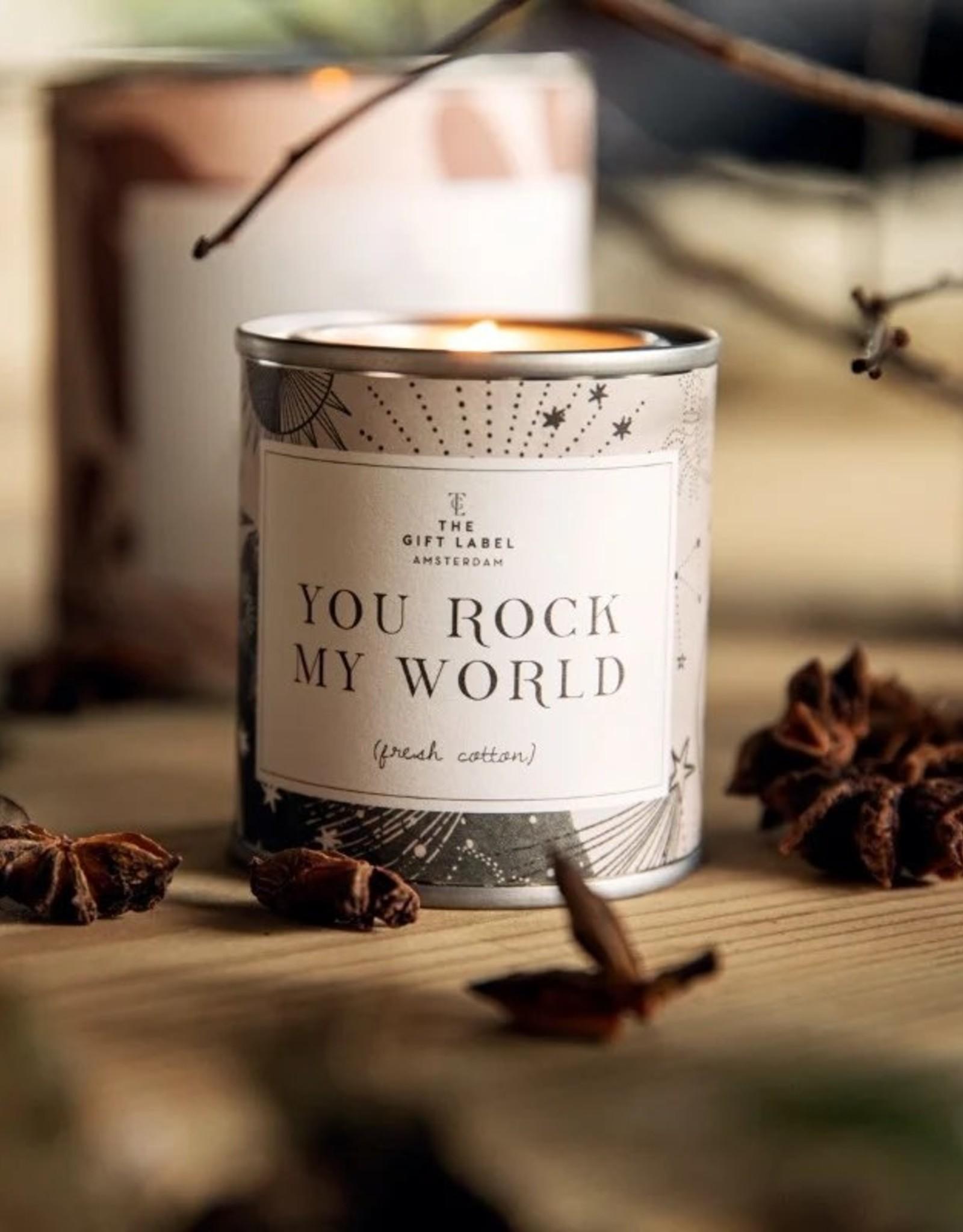 the gift label the gift label geurkaars klein you rock my world (jasmine vanilla)
