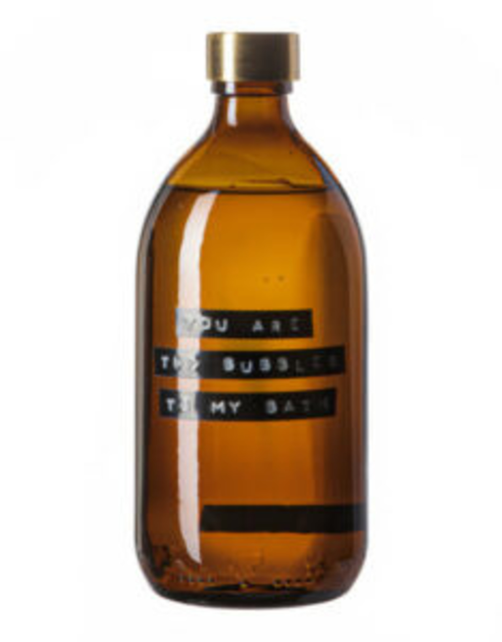 wellmark Wellmark Bad zeep bamboo -500ml bruin glas - messing 'You are the bubbles to my bath'