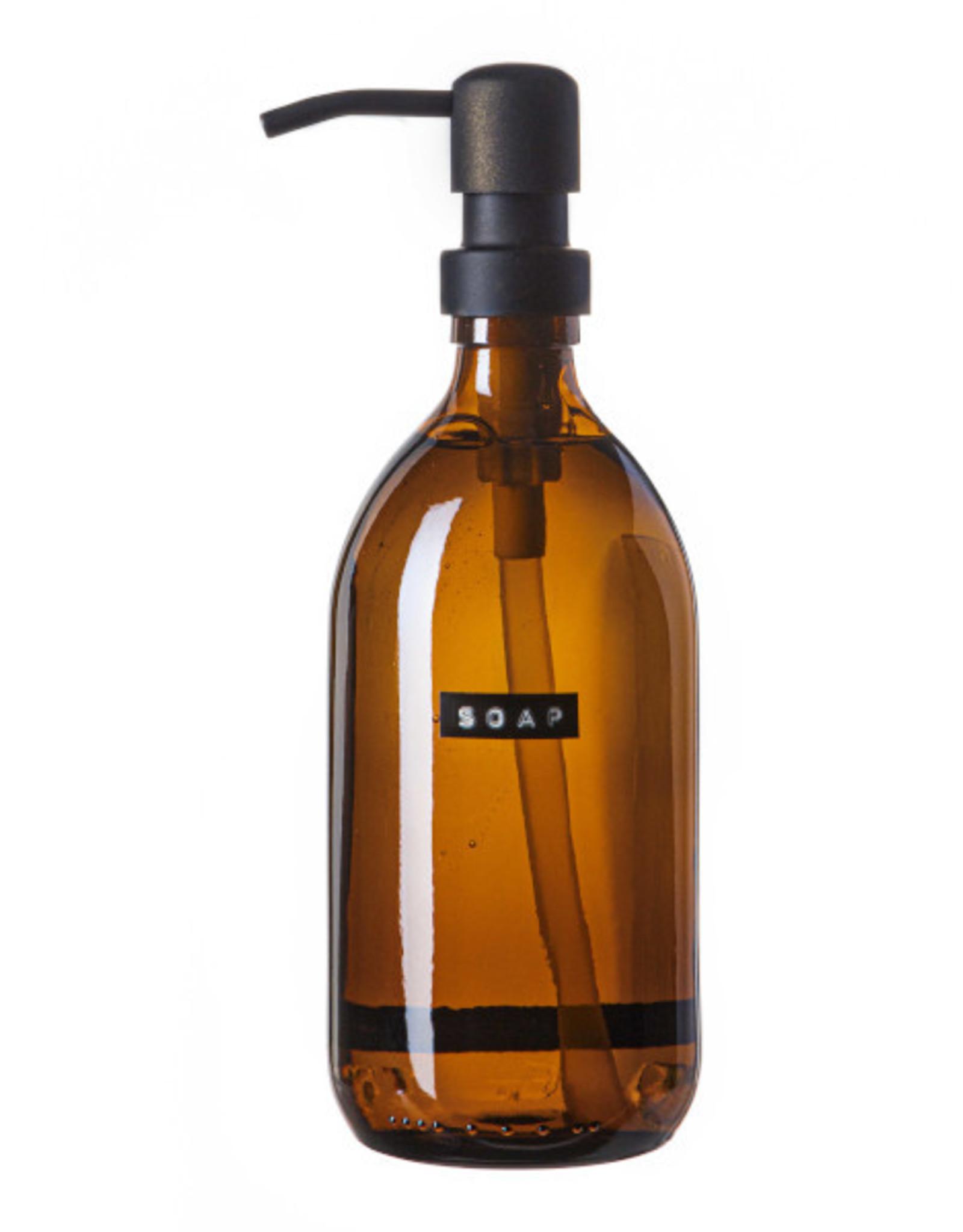 wellmark Wellmark Zeeppomp bruin glas - zwart - 500ml handzeep bamboe - Soap