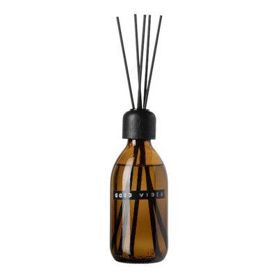 Wellmark wellmark - geurstokjes bruin glas - zwart -250 ml 'good vibes'