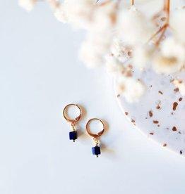 Isa en Roza Isa en Roza 085 oorhangers goudkleurig en blauw