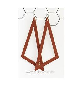 made by ellen Made by ellen oorbellen driehoek XL roest