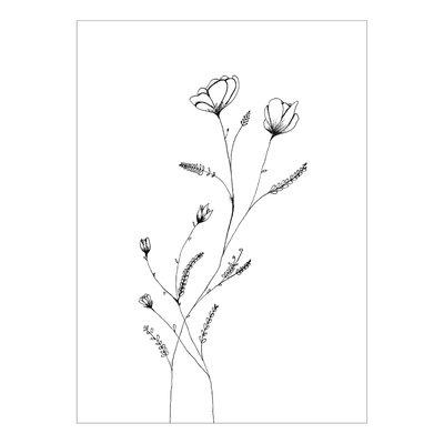 Made by ellen Made by ellen kaartje a6 bloemen zwart wit