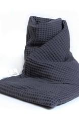 Janneke's  warmtesjaal Janneke's warmtesjaal wafelstof antraciet | biologisch lijnzaad