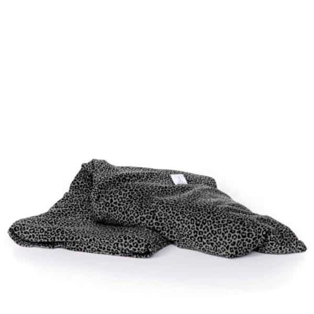 Janneke's  warmtesjaal Janneke's Warmtesjaal luipaardprint kakigroen | biologisch lijnzaad