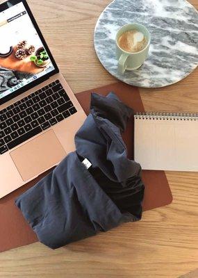 Janneke's  warmtesjaal Janneke's Warmtesjaal jersey grijs | biologisch lijnzaad