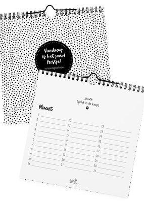 zoedt Zoedt Verjaardagskalender zwart wit | vierkant