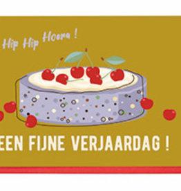 Enfant Terrible Dubbele wenskaart Enfant terrible:  een fijne verjaardag kersen taart