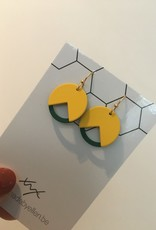 made by ellen Made by ellen oorbellen geel en petrol