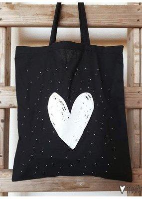 Miek in vorm miek in vorm tas zwart groot wit hart