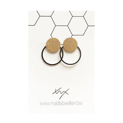 Made by ellen Made by Ellen oorbellen  steker mat goud met ring zwart