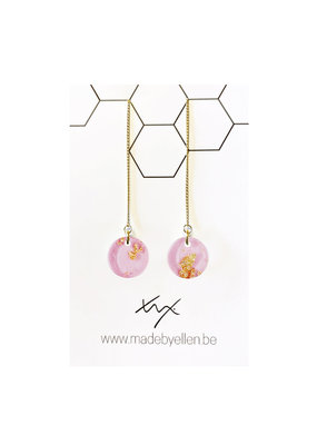 made by ellen Made by ellen oorbellen  acryl 12mm doortrekker roze folie goud