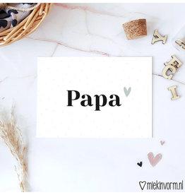 Miek in vorm kaart a6 miek in vorm:  papa