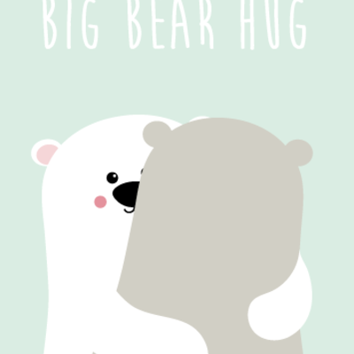 Studio inktvis kaart a6 studio inktvis: big bear hug