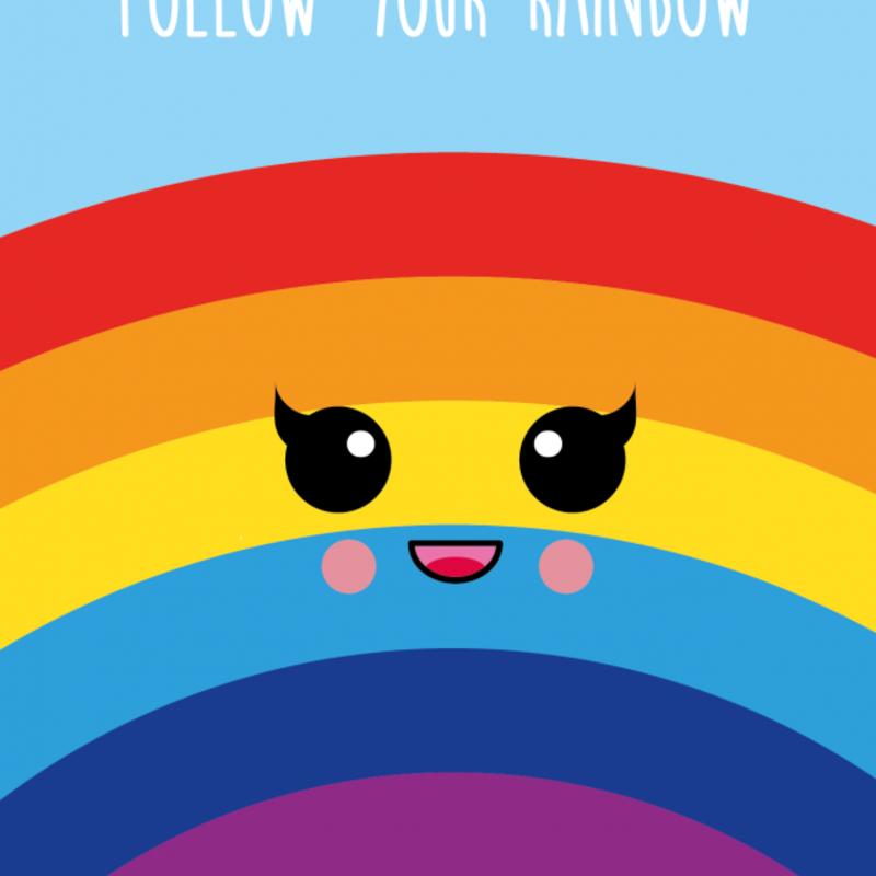 Studio inktvis kaart a6 studio inktvis: follow your rainbow