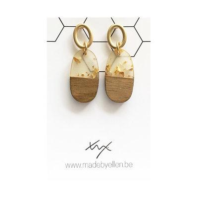 Made by ellen Made by ellen oorbellen  hars&hout ovaal goud steker ovaal
