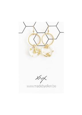 made by ellen Made by ellen oorbellen hangertje cirkel & schijfje goudfolie